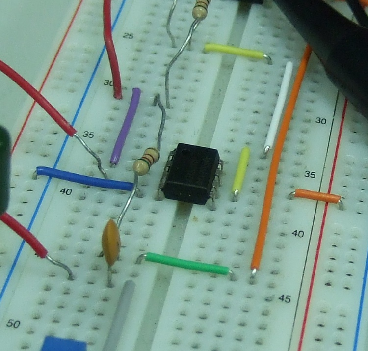 a uA741 op amp in action on a breadboard